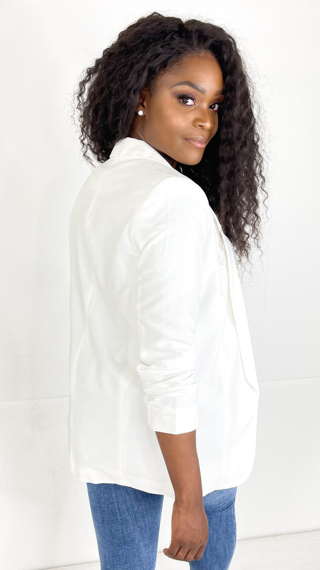 Get That Trend Pieces White Long Classic Blazer