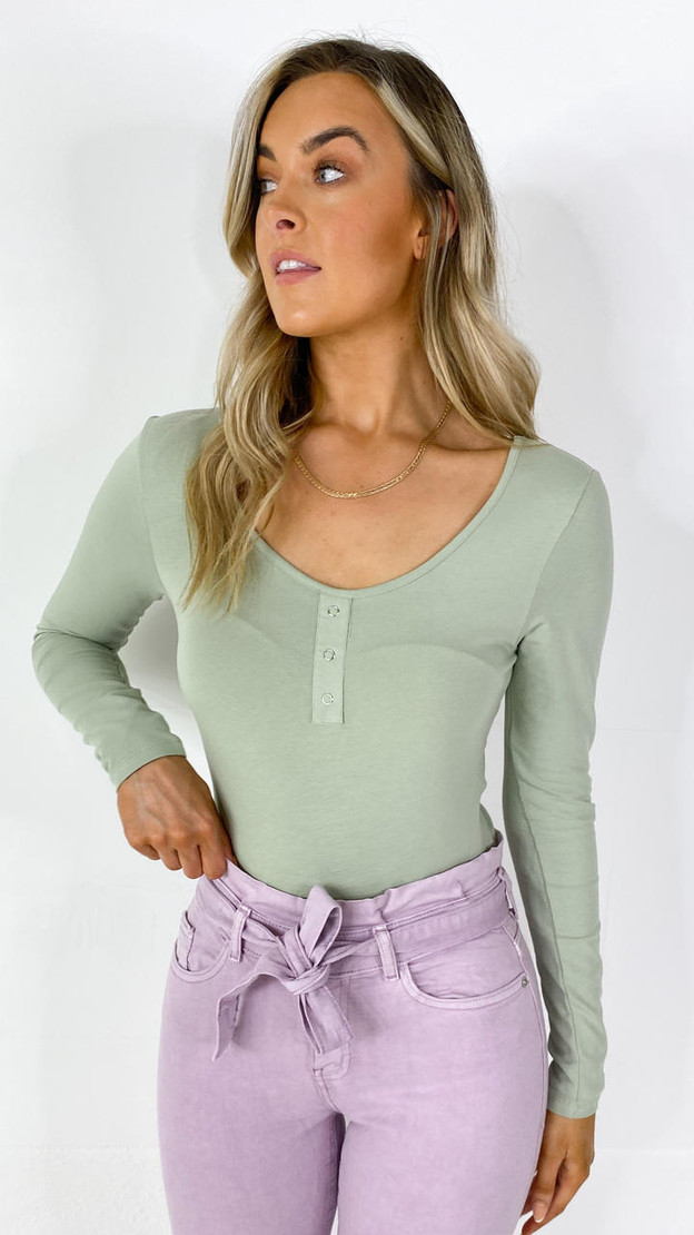 Only Sage Green Long Sleeve Top