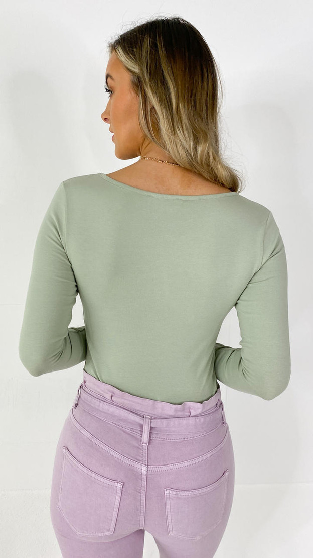 Get That Trend Only Sage Green Long Sleeve Top