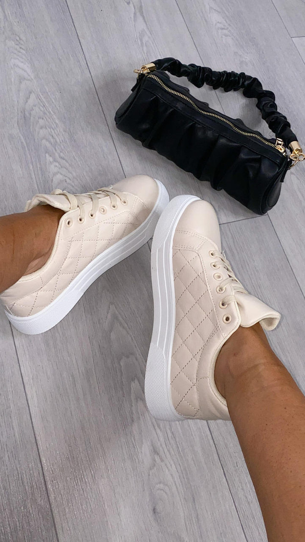 Beige Quilted Trainers