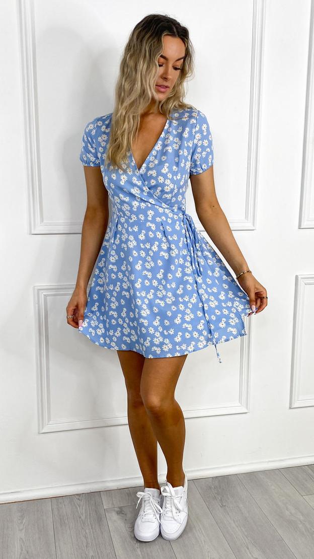 Ivy Lane Blue Daisy Print Wrap Dress