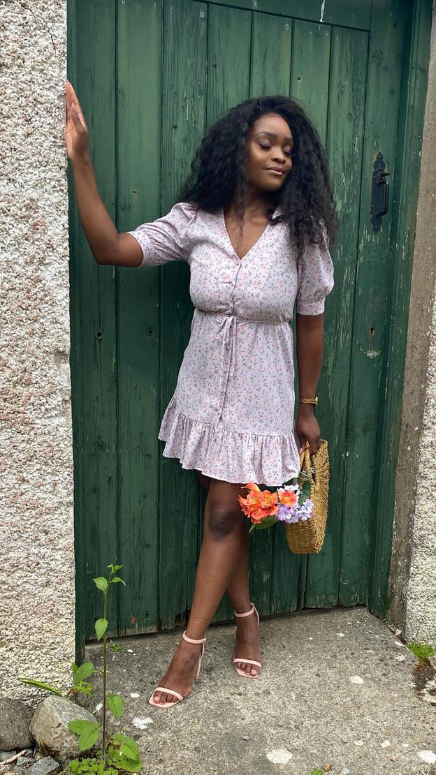 Ivy Lane Lilac Frill Hem Floral Button Down Mini Dress