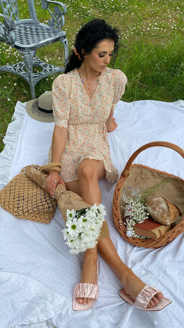 Ivy Lane Orange Frill Hem Floral Button Down Mini Dress
