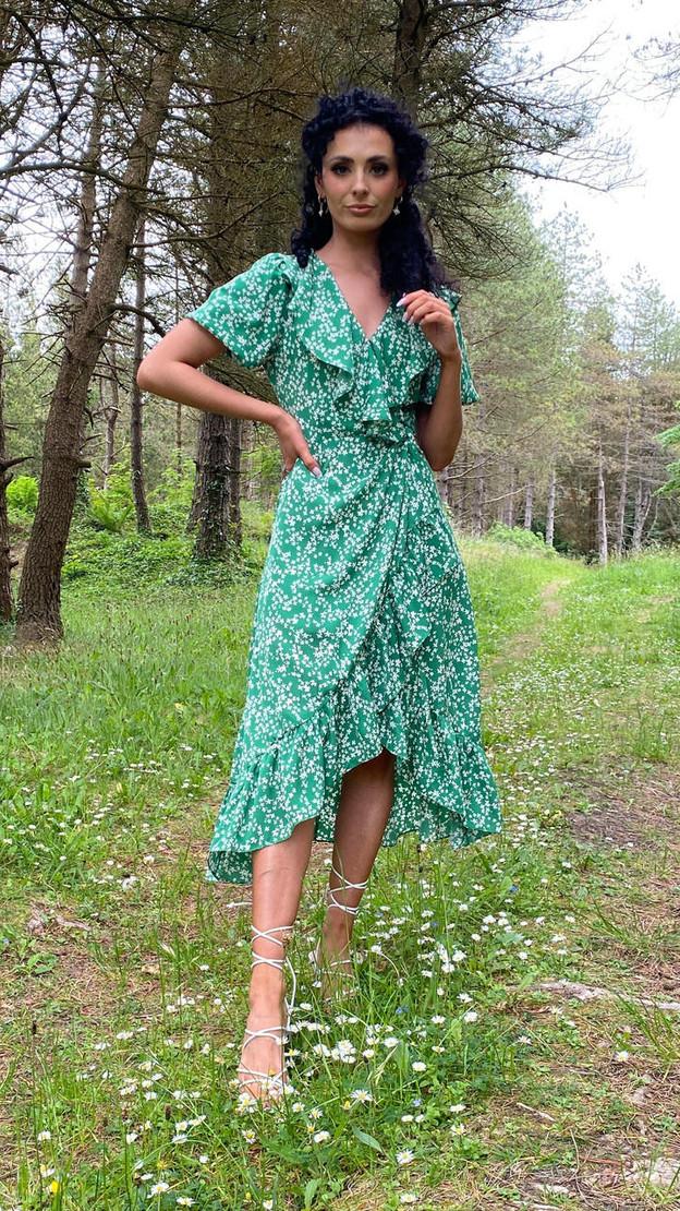 Ivy Lane Green Ruffle Detail Floral Print Wrap Midi Dress