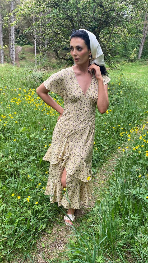 Get That Trend Ivy Lane Lemon Ruffle Detail Floral Print Midi Dress