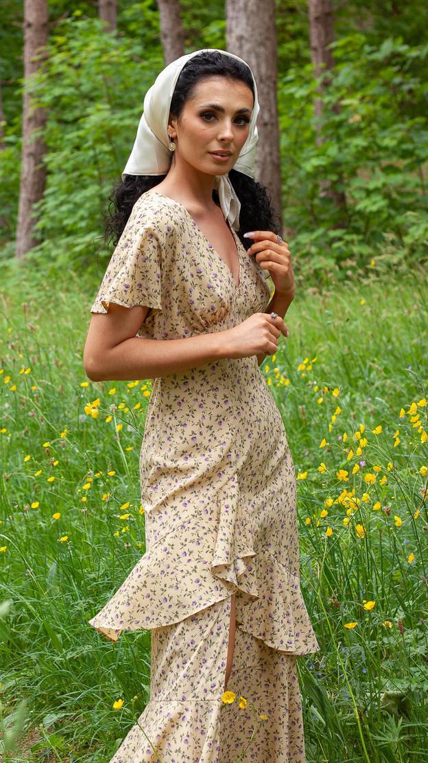 Ivy Lane Lemon Ruffle Detail Floral Print Midi Dress