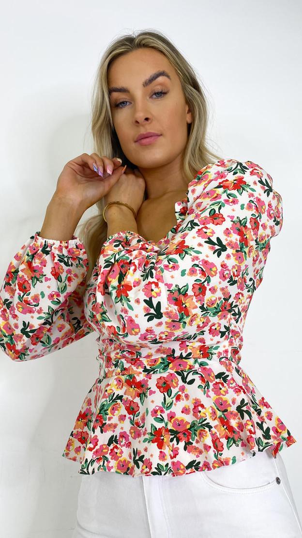 Ivy Lane Floral Print Milkmaid Long Sleeve Top