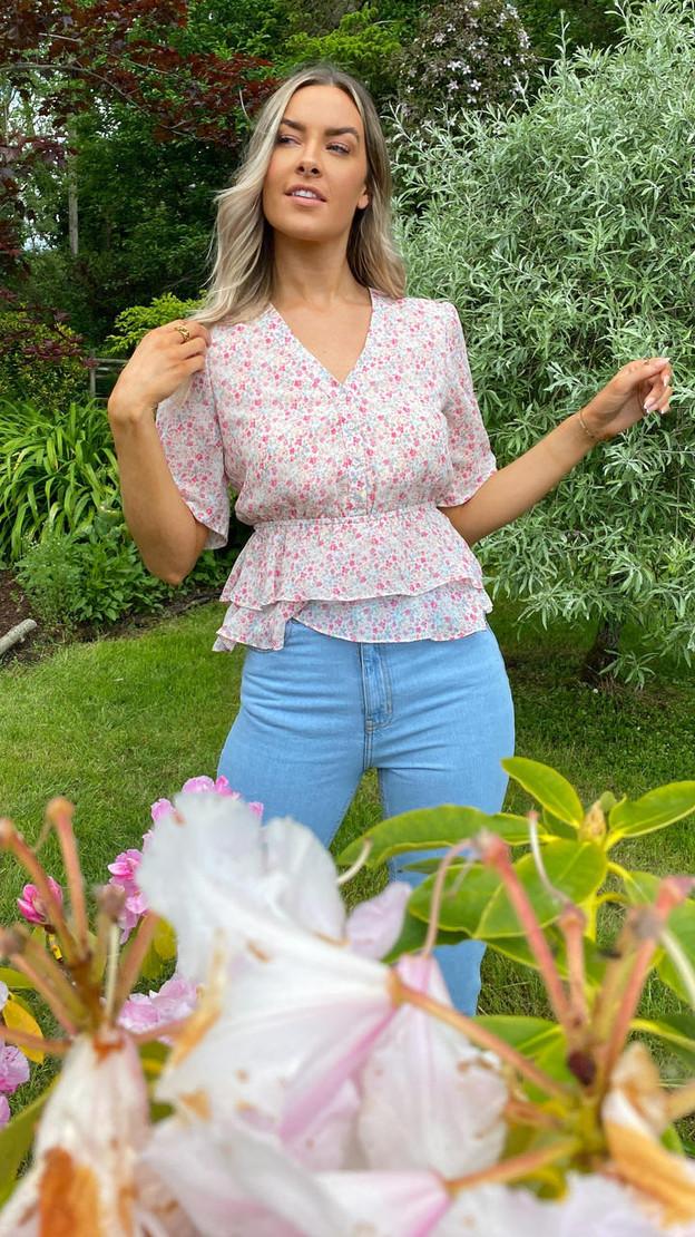 Ivy Lane Pink Floral Print Button Down Blouse
