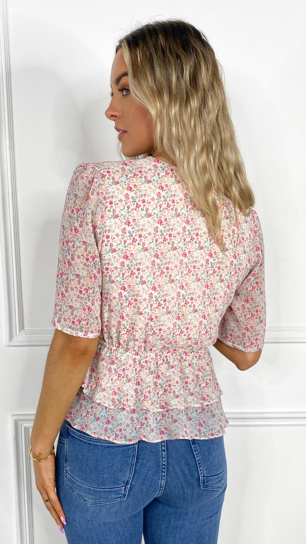 Get That Trend Ivy Lane Pink Floral Print Button Down Blouse