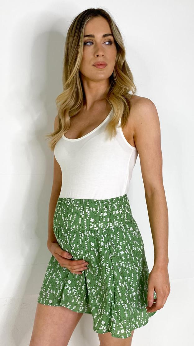 Mamalicious Green Floral Maternity Mini Skirt