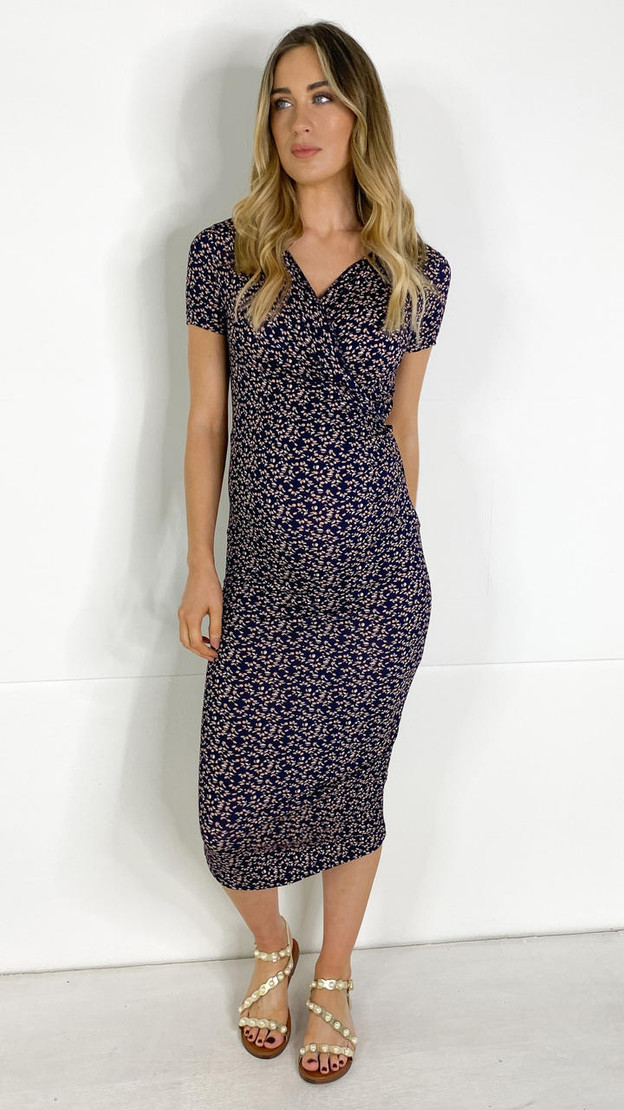 Get That Trend Mamalicious Navy Floral Midi Maternity Dress