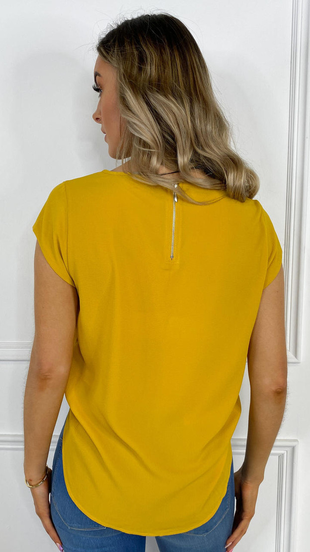 Get That Trend Only Mustard Loose Short Sleeved Top