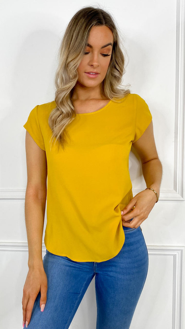 Only Mustard Loose Short Sleeved Top
