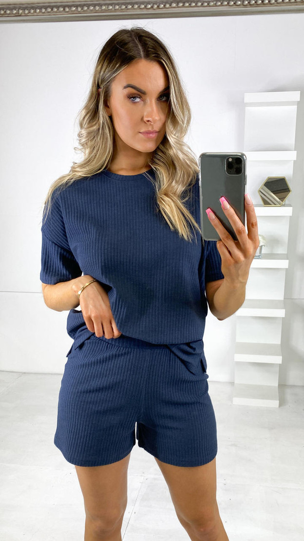 Pieces Navy Ribbed Oversized T-Shirt