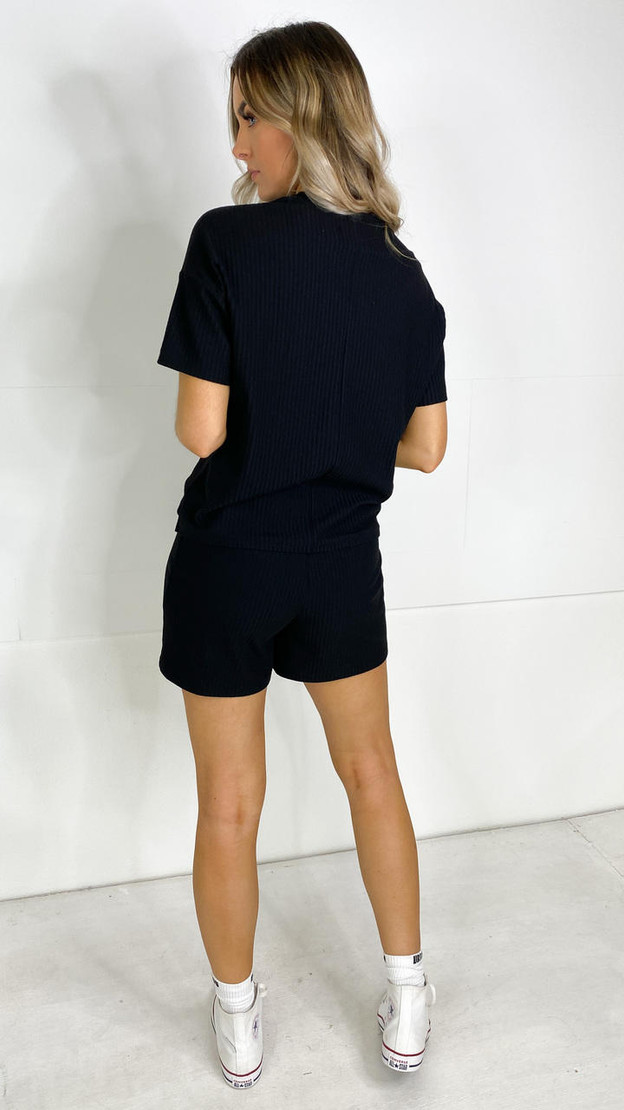 Get That Trend Pieces Black Ribbed Oversized T-Shirt