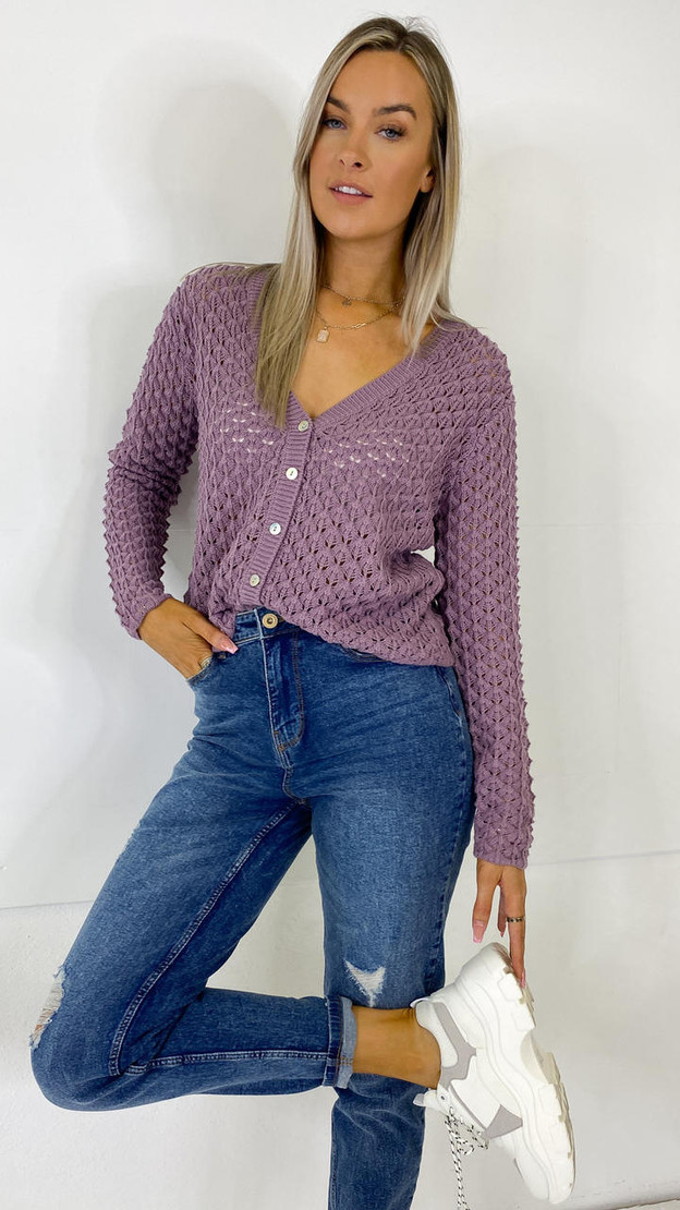 JDY Textured Grape Knitted Cardigan