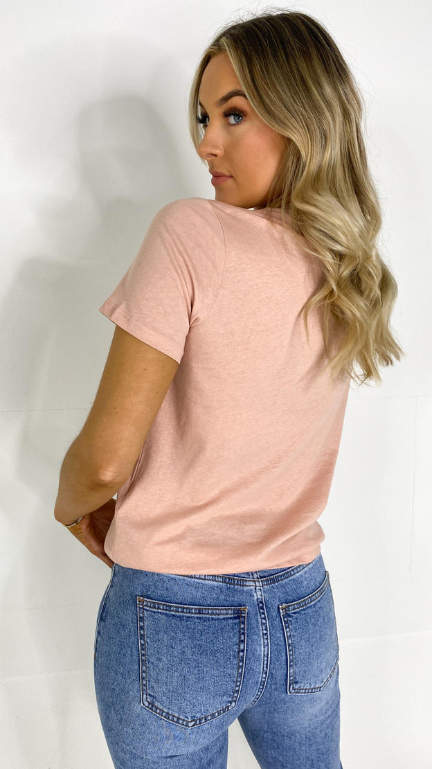 Get That Trend Pieces Misty Rose Printed T-shirt