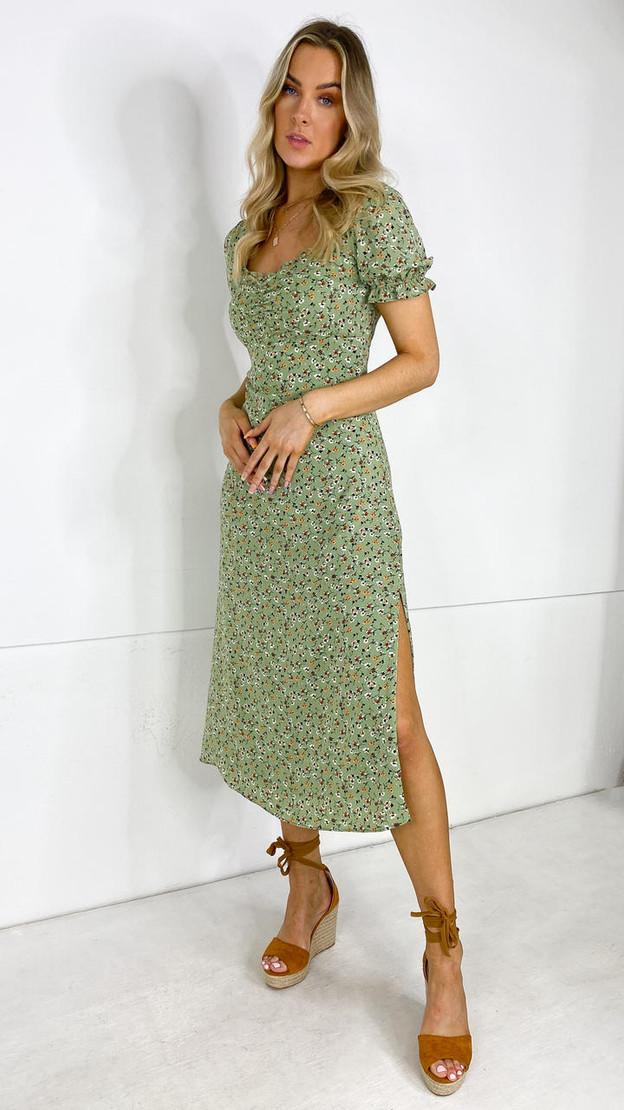Ivy Lane Green Floral Milkmaid Neckline Midi Dress
