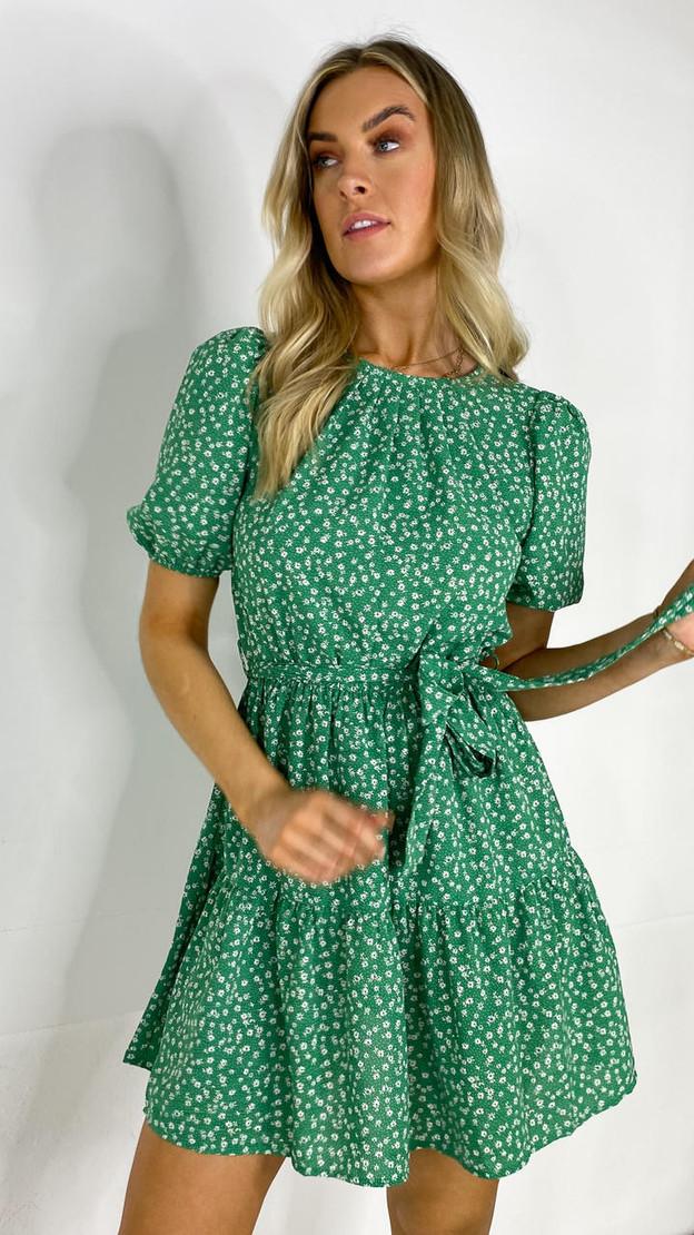 Get That Trend Ivy Lane Green Floral Round Neck Mini Dress