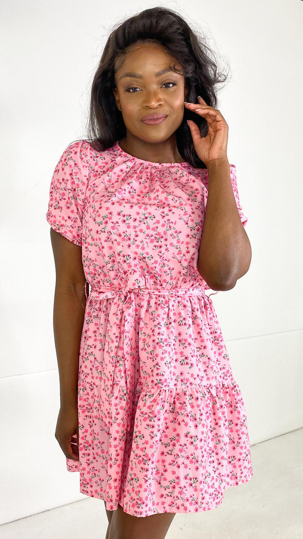 Ivy Lane Rose Floral Round Neck Mini Dress