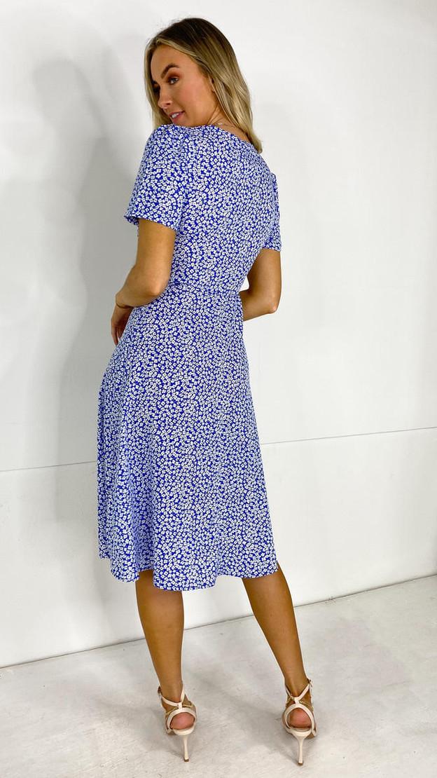 Get That Trend Ivy Lane Blue Floral Wrap Midi Dress
