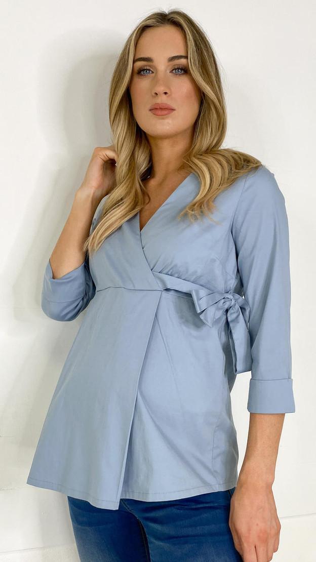 Mamalicious Blue Wrap Maternity Top