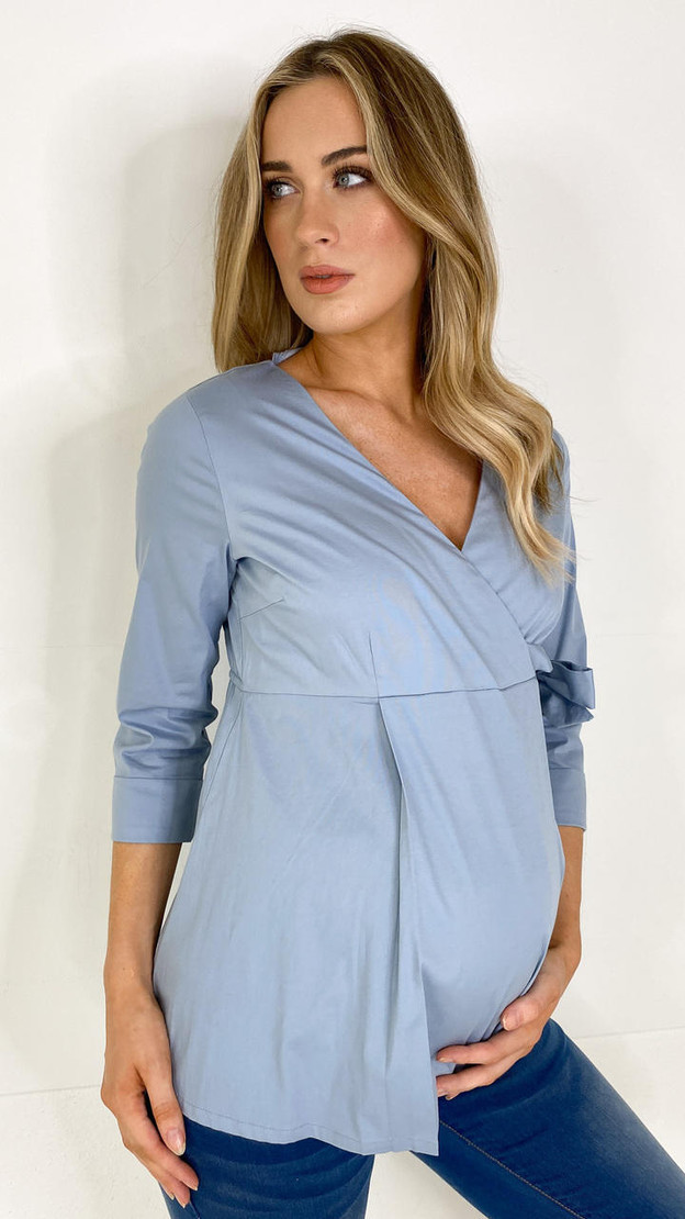 Get That Trend Mamalicious Blue Wrap Maternity Top