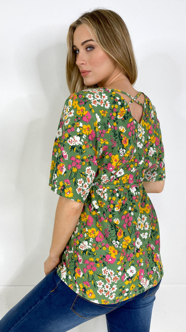 Mamalicious Green Flower V Neck Tie Top