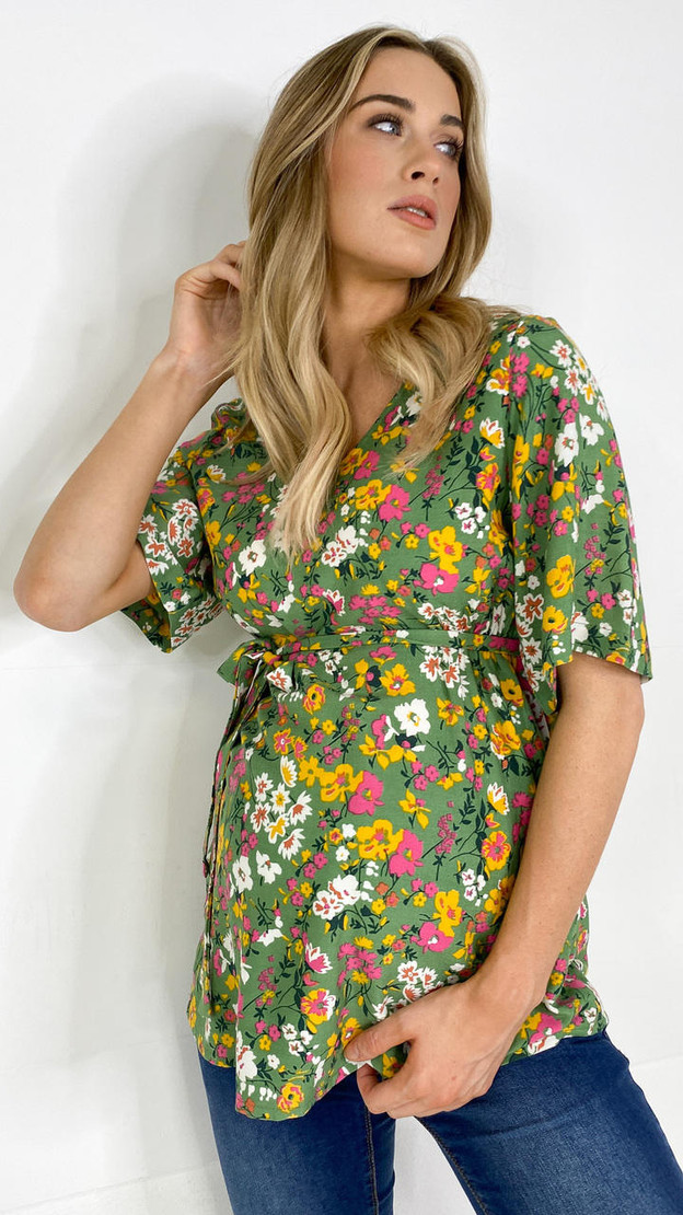 Get That Trend Mamalicious Green Flower V Neck Tie Top