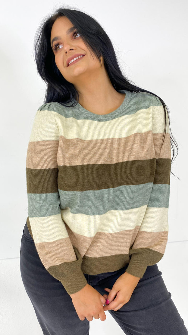 Only Carmakoma Striped Hedge Green Knit Jumper