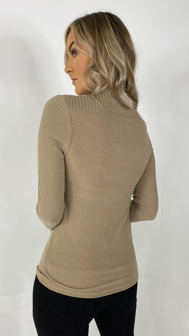 Get That Trend Pieces Silver Mink Long Sleeve Mock Neck
