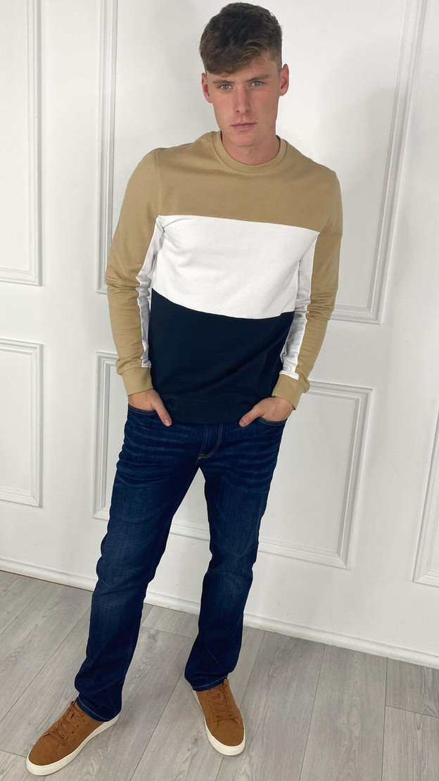 Get That Trend Only and Sons Beige Striped Crewneck Sweatshirt