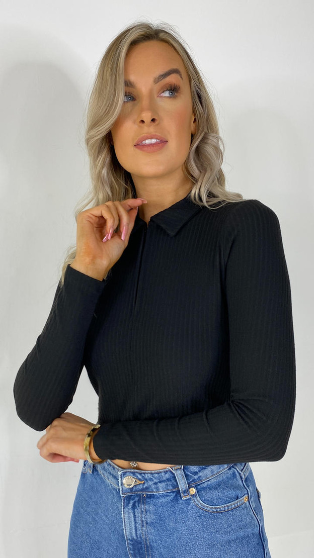 Get That Trend Only Black Half Zip Polo Top
