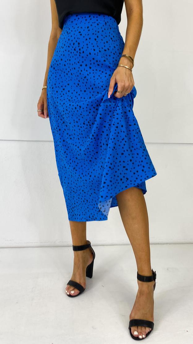 Ivy Lane Cobalt Splatter Print Midi Skirt