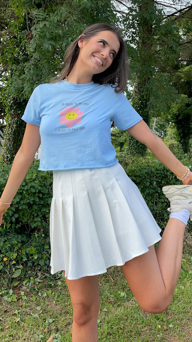 Daisy Street Light Blue Cropped Graphic T-Shirt
