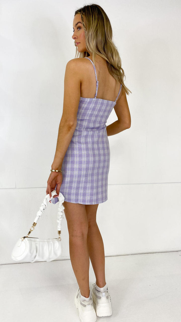 Get That Trend Daisy Street Lilac Checked Mini Dress