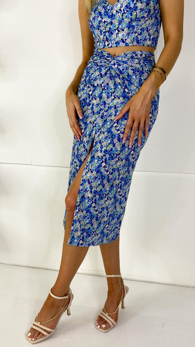 Blue Floral Ruched Midi Skirt