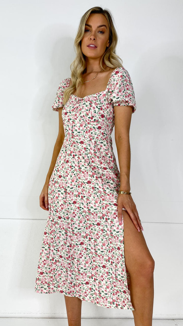 Ivy Lane Pink Abstract Floral Milkmaid Midi Dress
