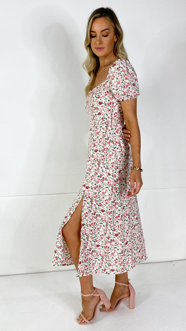 Get That Trend Ivy Lane Pink Abstract Floral Milkmaid Midi Dress