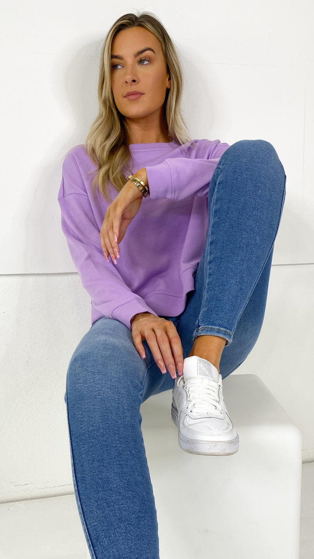 Get That Trend Pieces Lilac Long Sleeve Sweatshirt