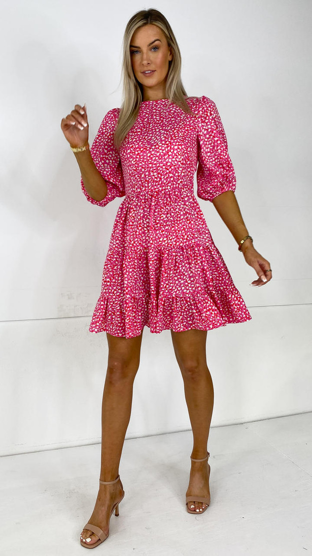 Ivy Lane Pink Tiered Mini Dress