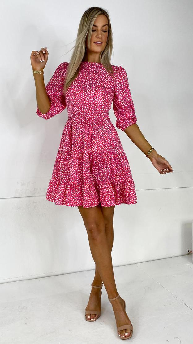 Get That Trend Ivy Lane Pink Tiered Mini Dress