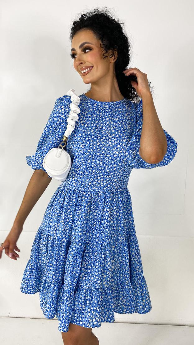 Ivy Lane Blue Tiered Mini Dress