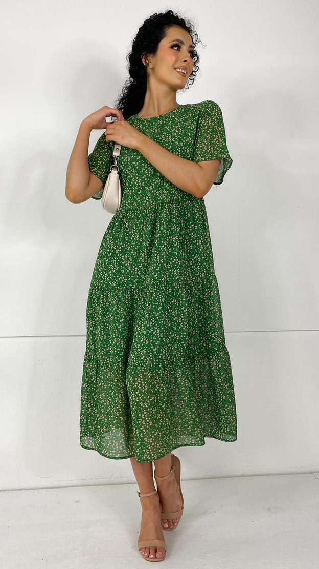 Ivy Lane Green Tiered Midi Dress