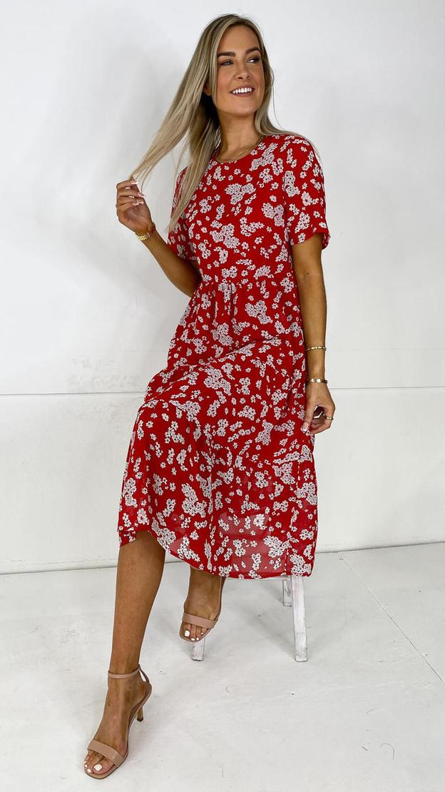 Ivy Lane Red Tiered Midi Dress