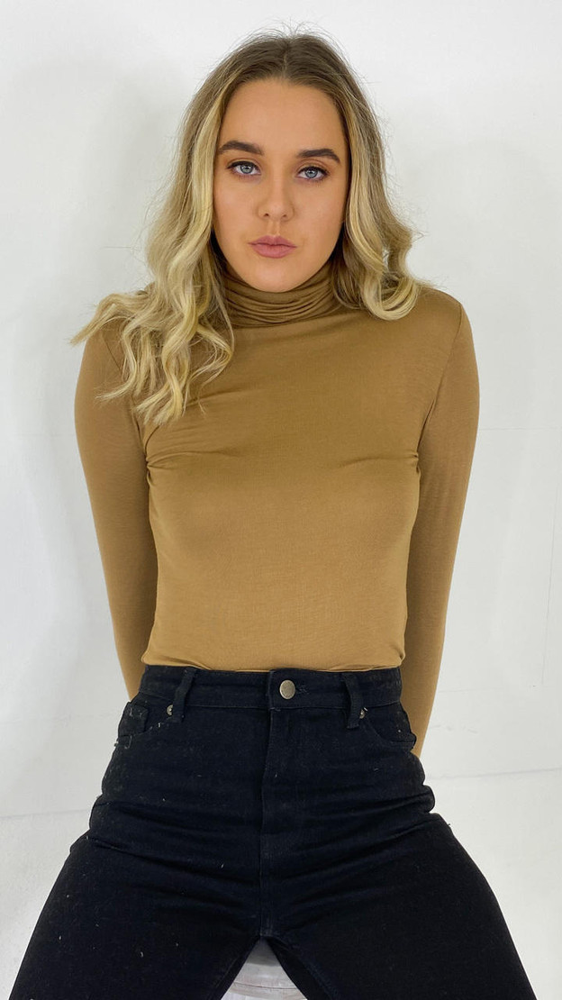 Only Life Brown Turtle Neck Top