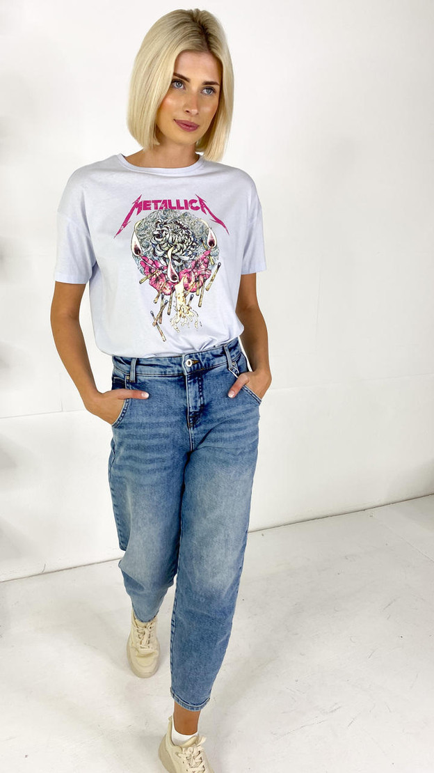 Only Life Baby Blue Metallica Graphic Tee