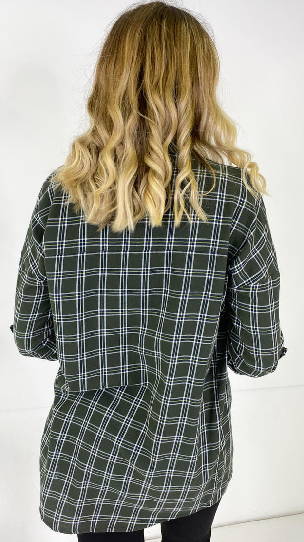 Get That Trend Noisy May Green Oversized Check Shirt