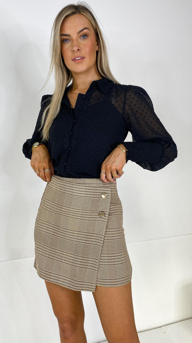 Only Beige Checked Mini Skirt