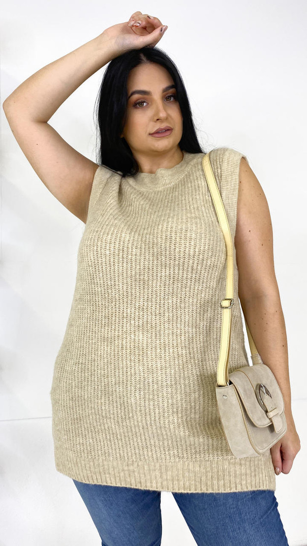 Only Carmakoma Beige Knit Vest